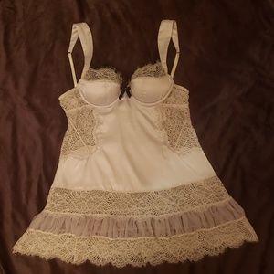 Victoria's Secret lingerie babydoll silver 34B S